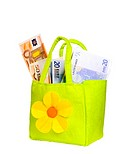 Euro banknotes in a cute bag