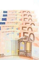 Fifty Euro banknotes