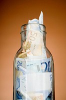 Banknotes in a jar