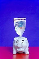 Piggy bank with folded banknote