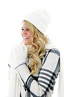 Woman in winter clothing laughing