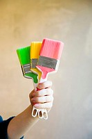 Hand holding colourful paint brushes (thumbnail)