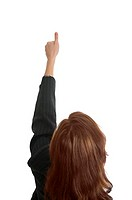 Businesswoman showing thumbs up, back shot