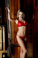 Seductive woman in red lingerie (thumbnail)