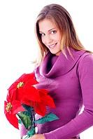 Woman holding poinsettia