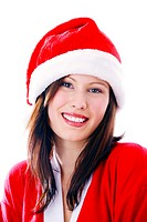 Beautiful woman in santa suit