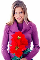 Woman holding poinsettia