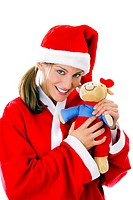 Woman in santa suit holding soft toy