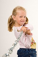 Girl pulling a chain