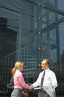 Businessman and businesswoman shaking hands (thumbnail)