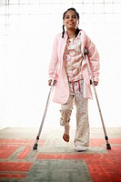Young Girl on Crutches