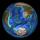 Global topography  Topographical map of the Earth, centred on 45 degrees South, 0 degrees East  The seas and oceans are colour-coded by depth  Turquoi...