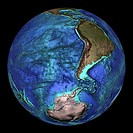 Global topography  Topographical map of the Earth, centred on 45 degrees South, 90 degrees West  The seas and oceans are colour-coded by depth  Turquo...