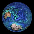 Global topography  Topographical map of the Earth, centred on 45 degrees South, 180 degrees East  The seas and oceans are colour-coded by depth  Turqu...