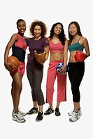 Multi-ethnic women in athletic gear