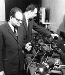 Nikolai Basov and Aleksandr Prokhorov, Russian physicists  Nikolai Basov 1922-2001, left and Aleksandr Prokhorov 1916-2002, right are primarily known ...