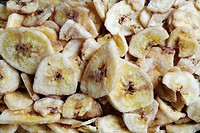 Dried banana chips, close-up