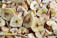 Dried banana chips, close-up