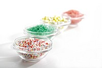 Sugar beads in bowls