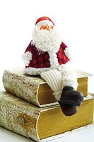 Santa Claus figurine sitting on books