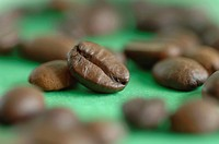Roasted coffee beans, close-up