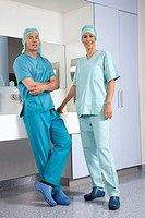 Surgeons in washing room