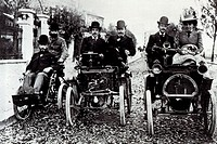 The Renault family with their cars  1899 photograph of the Renault family and their first cars  At right is the first car produced by Louis Renault 18...