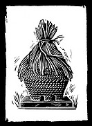 Beehive  Woodcut artwork of a beehive made from traditional materials  A beehive is a structure provided by a beekeeper for bees to colonise  Bees wil...