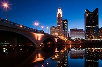 City Skyline along Scioto River / Dawn. Columbus. Ohio. USA