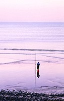 Fisherman on Beach, Ault, La Somme, Picardie, France
