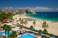 Magaluf Beach and promenade, Magaluf, Majorca, Balearic Islands Spain