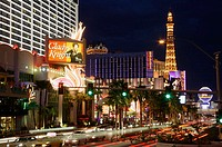 The famous Strip by night , Las Vegas Nevada USA