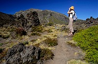 Tongariro Crossing and Tourist, Tongariro National Park, Taupo Region, North Island, New Zealand