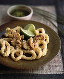 Crispy squid rings with lime dressing
