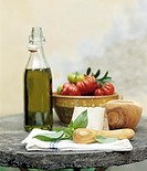 Basil, cheese, tomatoes and olive oil