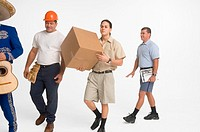 Postal worker, delivery man, mariachi and construction worker walking