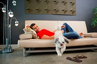 Side profile of a young man lying on a couch and looking at his pets jumping from it