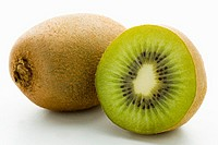 Half and whole kiwi fruit