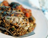Cod Fillet with Lentils and Ratatouille