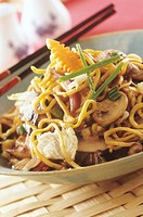 Stir-fried egg noodles with mushrooms and pak choi Japan