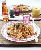 Fried rice noodles with tofu and vegetables China