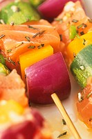 Salmon and vegetable kebabs