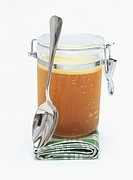 Beef stock in a jar