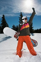 Excited snowboarder