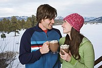 Couple drinking hot cocoa together