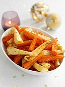 Glazed carrots and parsnips for Christmas