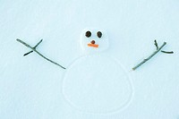 Snowman drawn on ground, portrait, high angle view