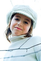 Girl wearing cap, portrait (thumbnail)