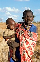 People, African, woman & baby , Masai Tribe, Kenya,