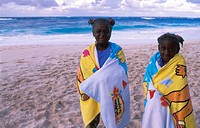 Nassau, beach, two girls wound a towel around Bahamas, Caribbean, America